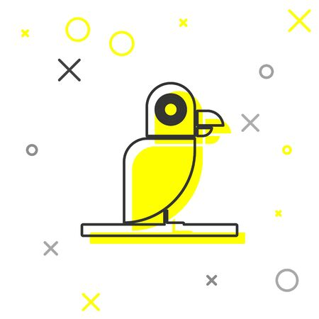 Grey line Pirate parrot icon isolated on white background. Vector Illustration