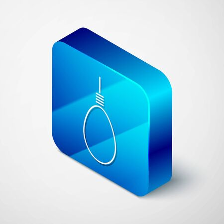 Isometric Gallows rope loop hanging icon isolated on white background. Rope tied into noose. Suicide, hanging or lynching. Blue square button. Vector Illustration Illustration