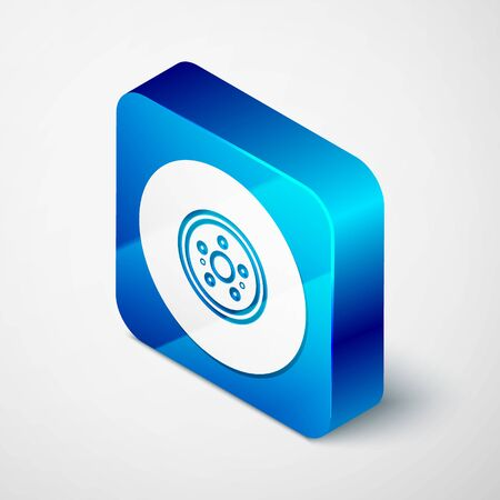 Isometric Car brake disk icon isolated on white background. Blue square button. Vector Illustration