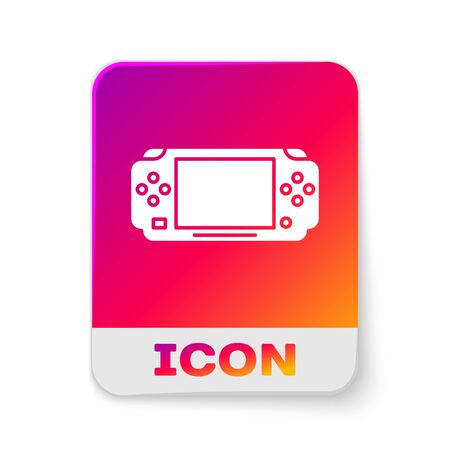 White Portable video game console icon isolated on white background. Gamepad sign. Gaming concept. Rectangle color button. Vector Illustration
