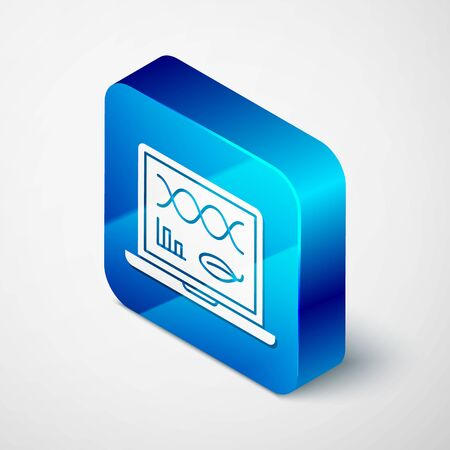 Isometric Genetic engineering modification on laptop icon isolated on white background. DNA analysis, genetics testing, cloning. Blue square button. Vector Illustration