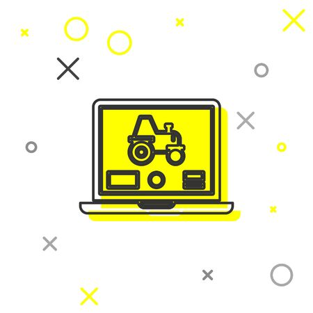 Grey line Laptop application for control a autonomous tractor on a smart farm icon isolated on white background. Smart agriculture implement. Vector Illustration