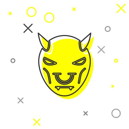 Grey line Mask of the devil with horns icon isolated on white background. Vector Illustration