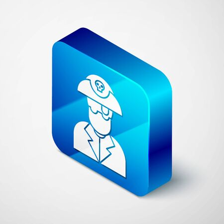 Isometric Pirate captain icon isolated on white background. Blue square button. Vector Illustration