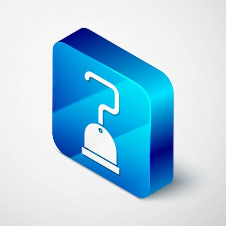 Isometric Pirate hook icon isolated on white background. Blue square button. Vector Illustration