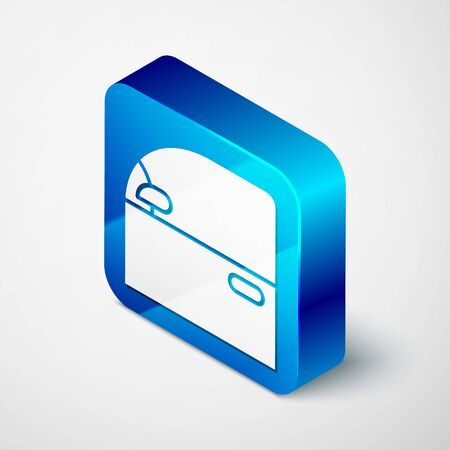 Isometric Car door icon isolated on white background. Blue square button. Vector Illustration Vettoriali