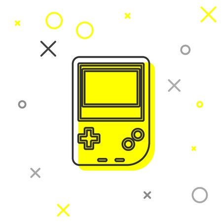 Grey line Portable video game console icon isolated on white background. Gamepad sign. Gaming concept. Vector Illustration