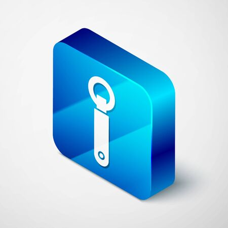 Isometric Bottle opener icon isolated on white background. Blue square button. Vector Illustration