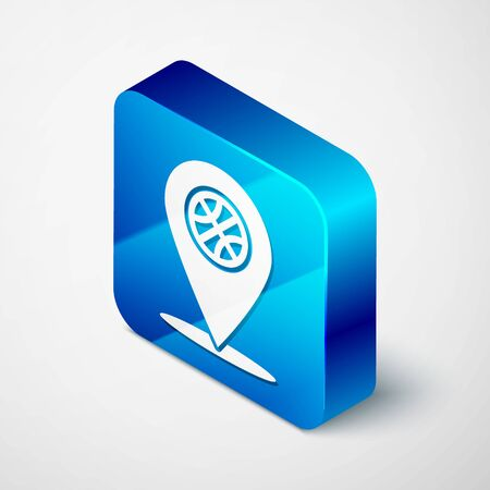 Isometric Location with basketball ball inside icon isolated on white background. Blue square button. Vector Illustration