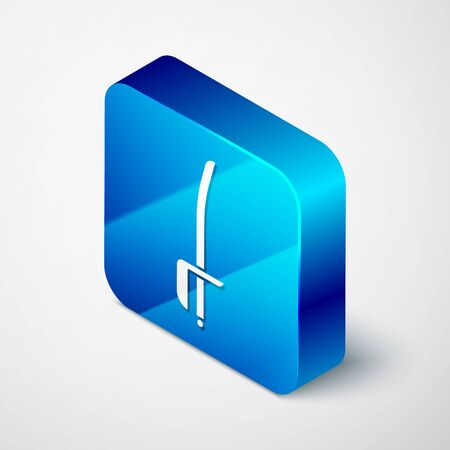 Isometric Pirate sword icon isolated on white background. Sabre sign. Blue square button. Vector Illustration