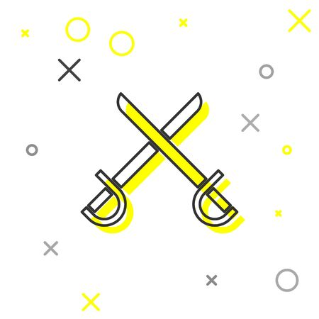 Grey line Crossed pirate swords icon isolated on white background. Sabre sign. Vector Illustration