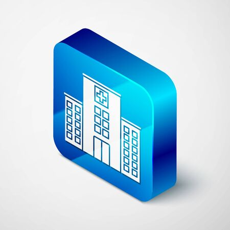 Isometric Medical hospital building with cross icon isolated on white background. Medical center. Health care. Blue square button. Vector Illustration