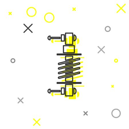 Grey line Shock absorber icon isolated on white background. Vector Illustration Illustration
