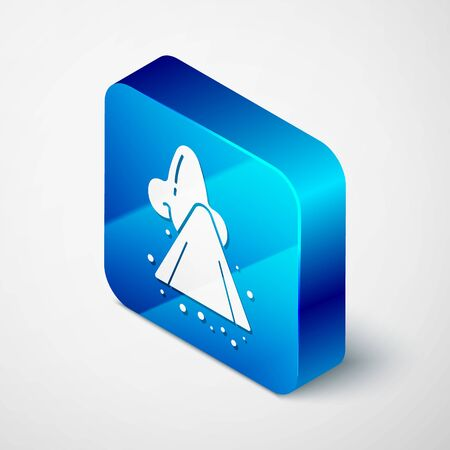 Isometric Runny nose icon isolated on white background. Rhinitis symptoms, treatment. Nose and sneezing. Nasal diseases. Blue square button. Vector Illustration Illustration