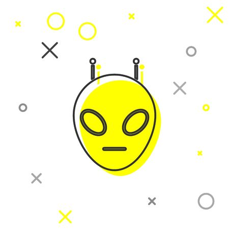 Grey line Alien icon isolated on white background. Extraterrestrial alien face or head symbol. Vector Illustration