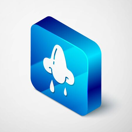 Isometric Runny nose icon isolated on white background. Rhinitis symptoms, treatment. Nose and sneezing. Nasal diseases. Blue square button. Vector Illustration Ilustração