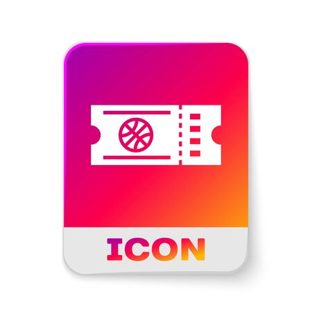 White Basketball game ticket icon isolated on white background. Rectangle color button. Vector Illustration