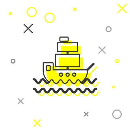 Grey line Ship icon isolated on white background. Vector Illustration