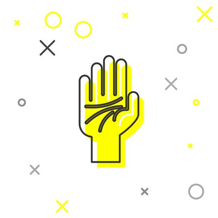 Grey line Palmistry of the hand icon isolated on white background. Vector Illustration