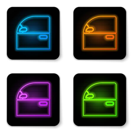 Glowing neon Car door icon isolated on white background. Black square button. Vector Illustration
