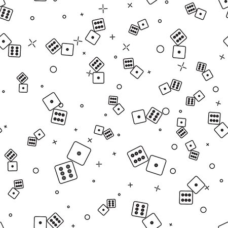 Black line Game dice icon isolated seamless pattern on white background. Casino gambling. Vector Illustration