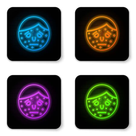 Glowing neon Face with psoriasis or eczema icon isolated on white background. Concept of human skin response to allergen or chronic body problem. Black square button. Vector Illustration