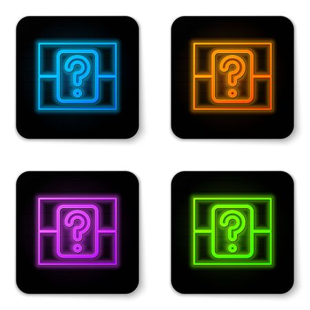 Glowing neon Mystery box or random loot box for games icon isolated on white background. Question box. Black square button. Vector Illustration