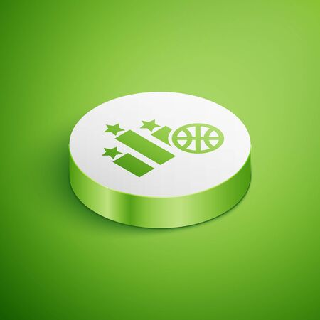 Isometric Basketball over sports winner podium icon isolated on green background. White circle button. Vector Illustration