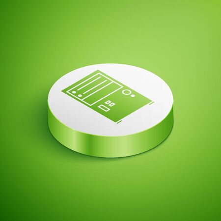 Isometric Computer icon isolated on green background. PC component sign. White circle button. Vector Illustration Illustration