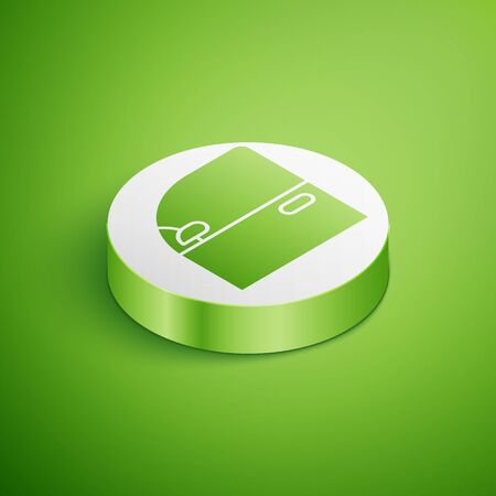 Isometric Car door icon isolated on green background. White circle button. Vector Illustration