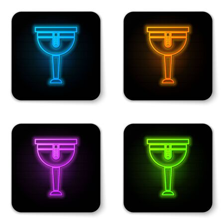 Glowing neon Wooden pirate leg icon isolated on white background. Black square button. Vector Illustration
