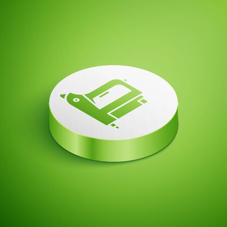Isometric Electric construction stapler icon isolated on green background. Working tool. White circle button. Vector Illustration