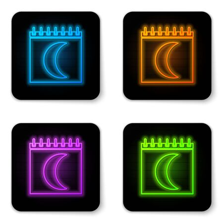 Glowing neon Moon phases calendar icon isolated on white background. Black square button. Vector Illustration