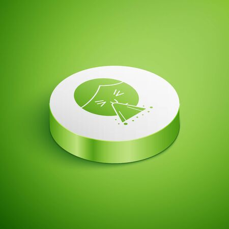 Isometric Man holding handkerchief or napkin to his runny nose icon isolated on green background. Coryza desease symptoms. White circle button. Vector Illustration