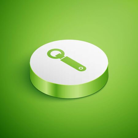 Isometric Bottle opener icon isolated on green background. White circle button. Vector Illustration