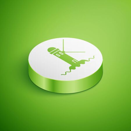 Isometric Lighthouse icon isolated on green background. White circle button. Vector Illustration Иллюстрация