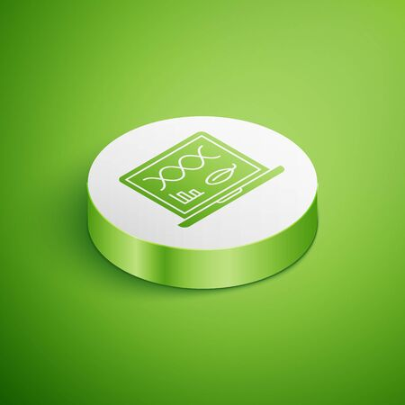 Isometric Genetic engineering modification on laptop icon isolated on green background. DNA analysis, genetics testing, cloning. White circle button. Vector Illustration