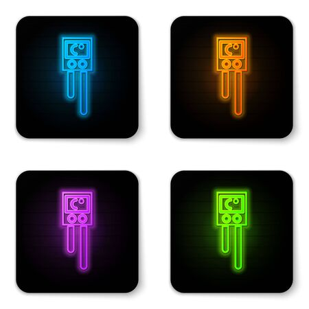 Glowing neon Temperature and humidity sensor icon isolated on white background. Black square button. Vector Illustration