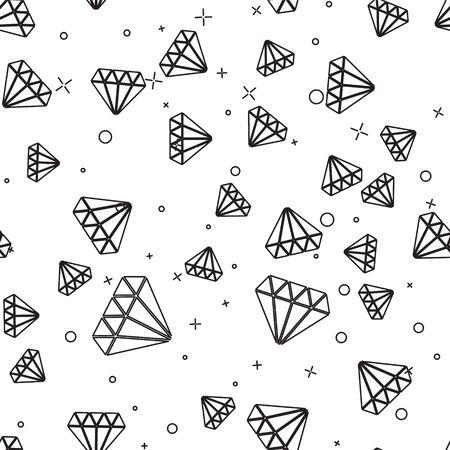 Black line Diamond icon isolated seamless pattern on white background. Jewelry symbol. Gem stone. Vector Illustration 向量圖像