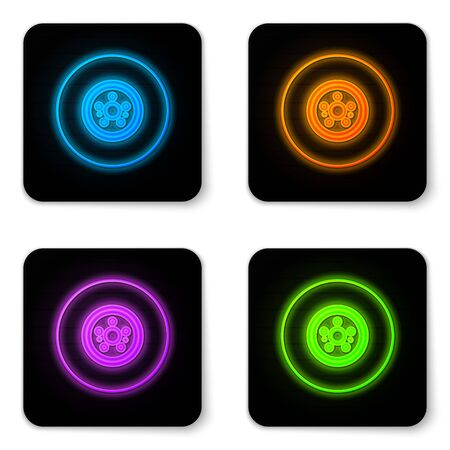 Glowing neon Car brake disk icon isolated on white background. Black square button. Vector Illustration