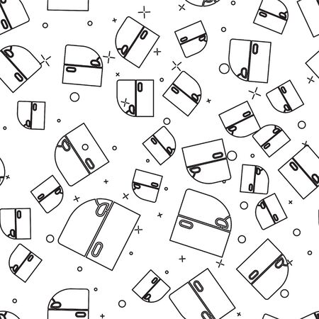 Black line Car door icon isolated seamless pattern on white background. Vector Illustration