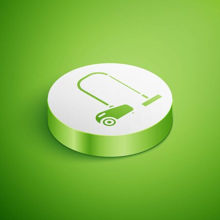 Isometric Vacuum cleaner icon isolated on green background. White circle button. Vector Illustration