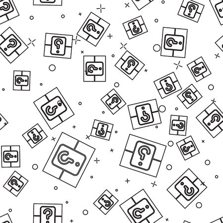 Black line Mystery box or random loot box for games icon isolated seamless pattern on white background. Question box. Vector Illustration Illusztráció