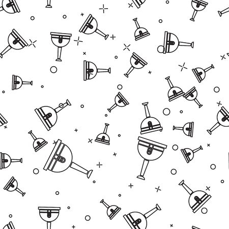 Black line Wooden pirate leg icon isolated seamless pattern on white background. Vector Illustration