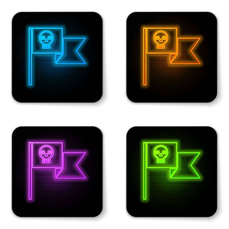 Glowing neon Pirate flag with skull icon isolated on white background. Black square button. Vector Illustration 向量圖像
