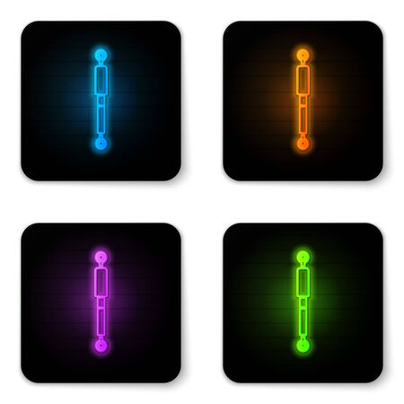 Glowing neon Shock absorber icon isolated on white background. Black square button. Vector Illustration Illustration