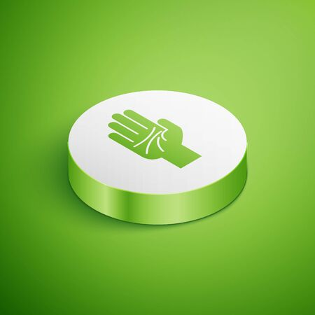 Isometric Palmistry of the hand icon isolated on green background. White circle button. Vector Illustration