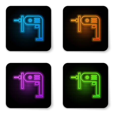 Glowing neon Electric drill machine icon isolated on white background. Repair tool. Black square button. Vector Illustration