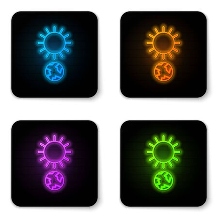Glowing neon Solstice icon isolated on white background. Black square button. Vector Illustration