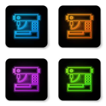 Glowing neon Sewing machine icon isolated on white background. Black square button. Vector Illustration
